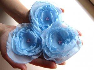 3 X BEAUTIFUL HANDMADE BLOSSOMS - Frost Blue