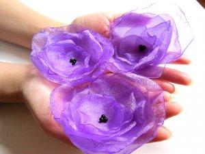 3 X HANDMADE SHIMMERING ORGANZA FLOWERS - purple