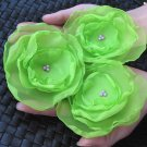 3 X BEAUTIFUL HANDMADE BLOSSOMS - Lime green