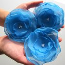 3 X BEAUTIFUL HANDMADE BLOSSOMS -  Blue