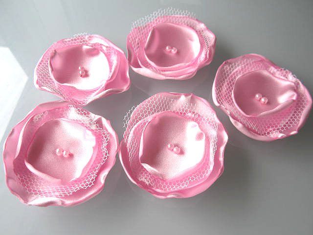 5 X HANDMADE SATIN FLOWERS APPLIQUE - PINK