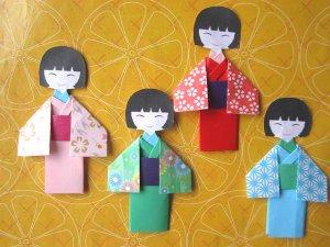 4 X ASSORTED HANDMADE ORIGAMI JAPANESE DOLL