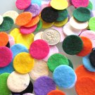 100 X MIXED COLOURS FELT CIRCLES - 2cm