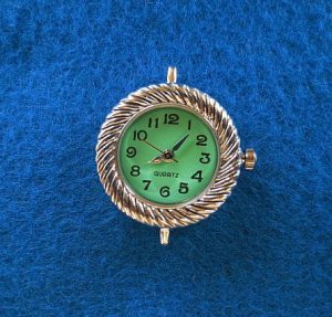 WATCH Face, Quartz -  Craft, Beading GREEN Round with Battery WF051