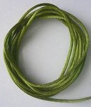 CORD, Satin - Rattail 12' 2mm FAIRY MOSS