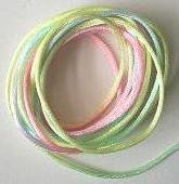 CORD, Satin - Rattail 12' 2mm RAINBOW PASTEL