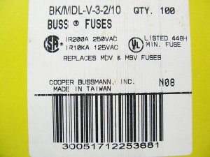 Bussmann Time Delay Fuse MDL - V - 3 2/10     250v   3  2/10a x 100 pcs