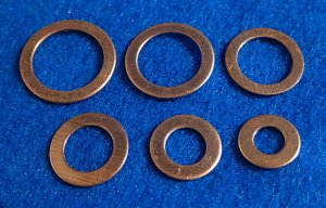 Copper Washers - Six Common Sizes  48 Pieces       CWsetx48