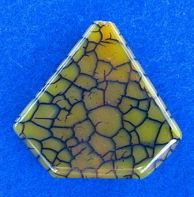 PENDANT STONE BEAD, AGATE Dragon Veins Green Arrow  FB181422