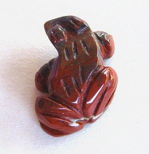 PENDANT STONE BEAD, JASPER Flame Frog  FB181270b