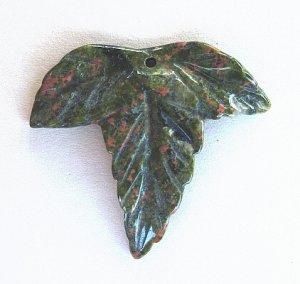PENDANT STONE BEAD, UNAKITE  Leaf  FB181220c