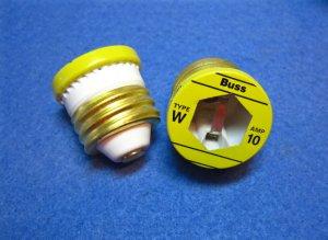 FUSES - Edison Base Plug Type W 10 amp Box of (4) EBF W10 FA