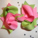 Lime Green/Hot Pink Spike Hair Bow