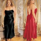 Satin Gown with Rhinestone Straps