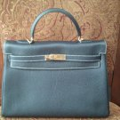 Real HERMES Kelly 35cm togo leather black cosmetic condition