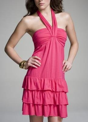 Pink Tiered Halter Dress by Express (Size: S)