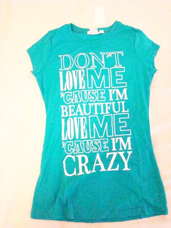 """Charlotte Russe """"Crazy"""" Screen Tee (Size S)"""