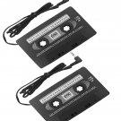2x New Car CassetteTape Adapter Transmitters for MP3 IPOD Nano CD IPHONE Black