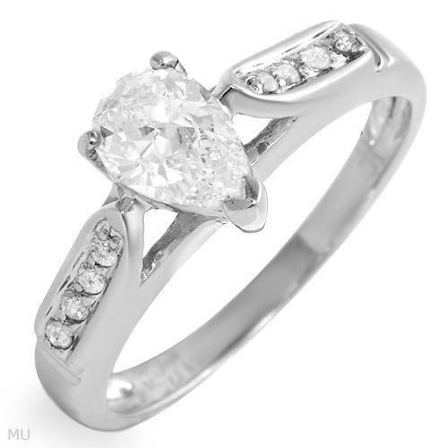 63%OFF - MODERN 14K white gold Diamond engagement ring