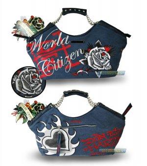 ED HARDY 100% Original Becca With Rhinestone Handbag - Teal