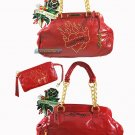 ED HARDY 100% Original Prescilla Leather Satchel-Red