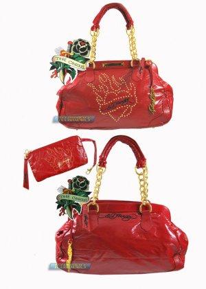 ED HARDY 100% Original Prescilla Leather Satchel-Red