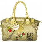 ED HARDY 100% Original Georgia Coated Canvas Metallic Satchel - Gold