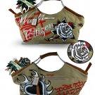 ED HARDY 100% Original Becca With Rhinestone Handbag - Beige