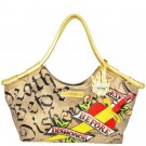 ED HARDY 100% Original Tribecca Medium Tote - Gold