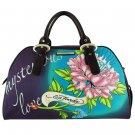ED HARDY 100% Original Keisha Microfiber Carry-On Handbag - Plum