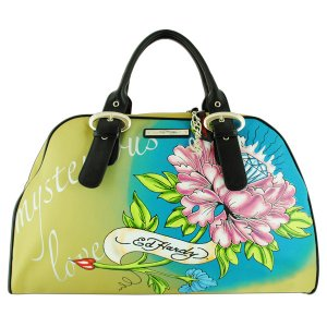ED HARDY 100% Original Keisha Microfiber Carry-On Handbag - Khaki