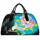 ED HARDY 100% Original Keisha Microfiber Carry-On Handbag - Black