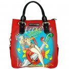 ED HARDY 100% Original Kelly North/South Microfiber Tote - Red
