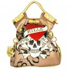 ED HARDY 100% Original Tanya Large Satchel - Gold