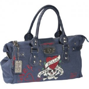 ED HARDY 100% Original Diddy Medium Tote Satchel - Teal