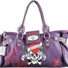 ED HARDY 100% Original Diddy Medium Tote Satchel - Plum