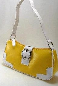 Yellow & White Buckle Bag