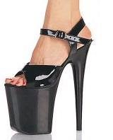 809 Black - 8 inch heel, approx. 5 inch platform, buckled ankle strap.