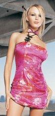 8023 - Brocade design, mandarin collar, rear zipper, one size fits most, 100% nylon.
