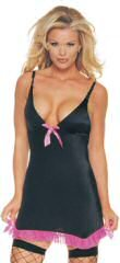 8078 - Lycra garter dress, satin bow, mesh trim, v neck, 885 nylon, 12% spandex.