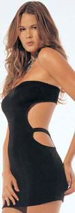 8549 - Slinky dress, strapless, cut out side, 100% nylon, one size fits most.