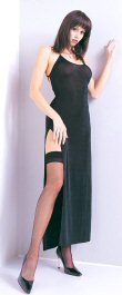 8739 - Lace up back, long side slit, semi-sheer. One size fits most, 88% nylon, 12% spandex.