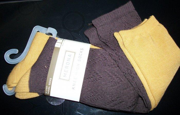 2 Pair Organic Knee Socks: Golden Yellow and Brown