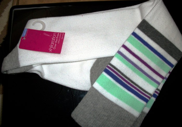 Over the Knees Socks: white with stripes (blue, purple, green)