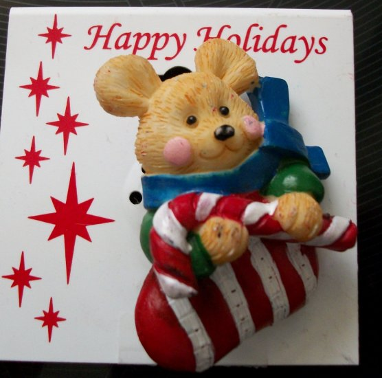 Pin/Brooch Holiday Mouse in a Stocking holding Candy Cane, X-mas, Christmas
