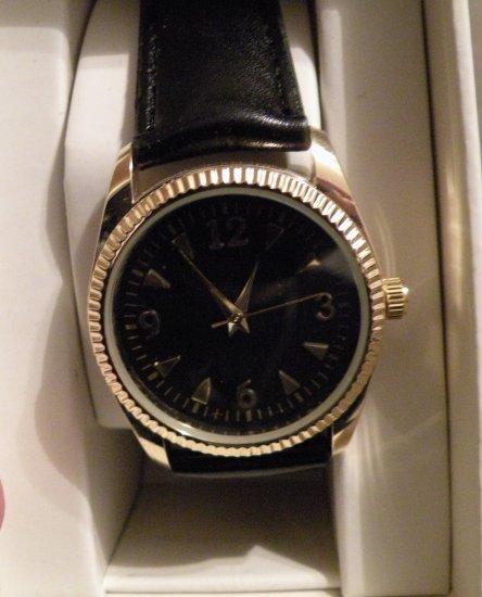 Womens Merona Black & Gold Watch Leather Band