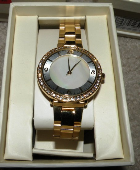 Womens Merona Rhinestone Accent Two-Tone Watch, Mother of Pearl Face, Link Band