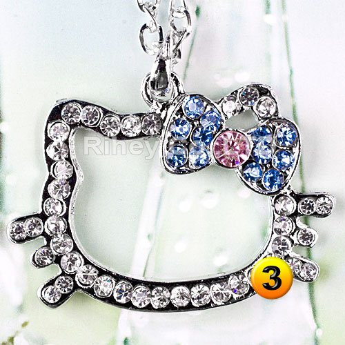 Large Pendant: Hello Kitty with Pink & Blue Crystal Bow