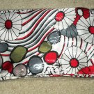 Retro Red & Black & Grey Flower/Stripe Long Scarf