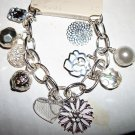 Silver Charm Bracelet: crystals, flowers, pearl, heart...